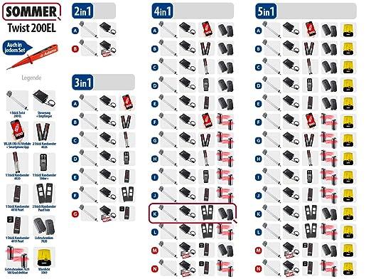 Sommer Twist 200EL - Accionamiento para puertas giratorias (1 vuelo, 2 emisores manuales y luz directa) Set 4 en 1 K.: Amazon.es: Bricolaje y herramientas