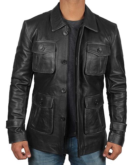 Amazon.com: Chaqueta de cuero marrón para hombre – chaquetas ...
