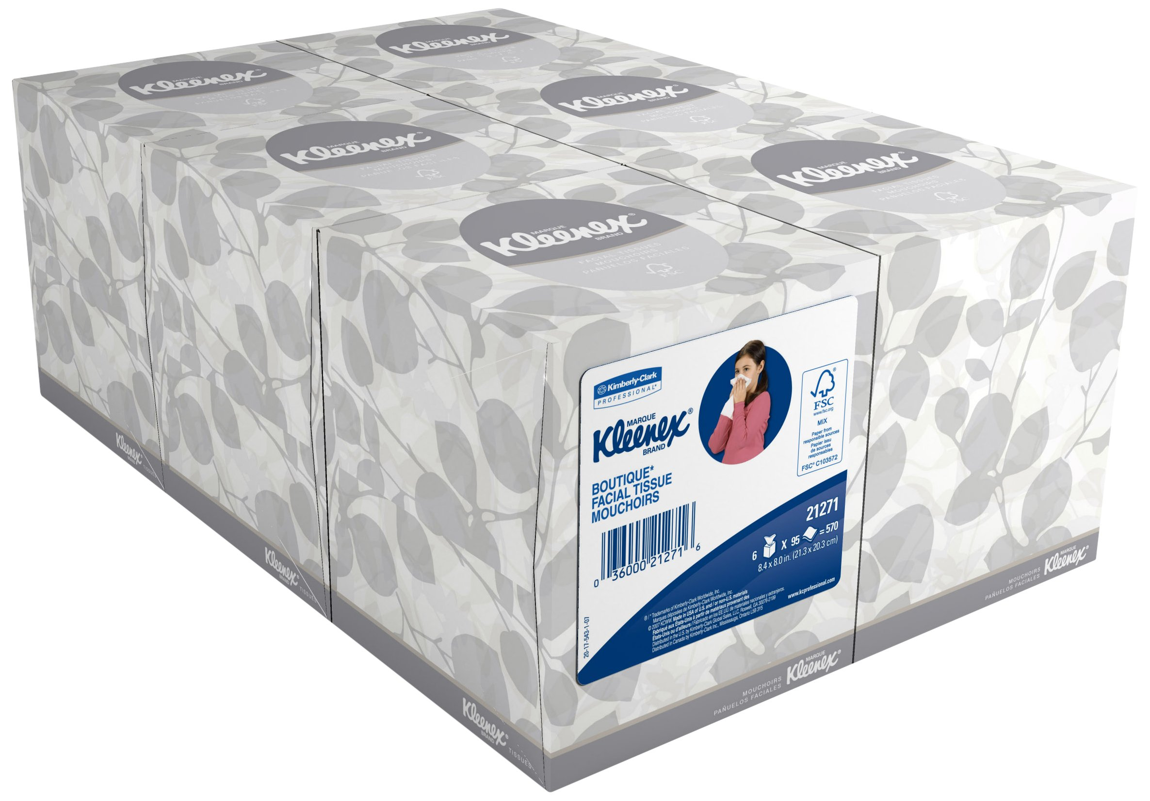 Kimberly-Clark 21271 Kleenex Boutique Facial Tissue Mouchoirs, 8.4'' Length x 8'' Width, White, 6 Boxes of 95 sheets (Pack of 570)