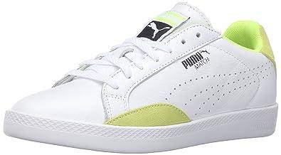 PUMA Women's Match Lo Basic Sports Wn's Tennis Shoe, White/Safety Yellow,  ...