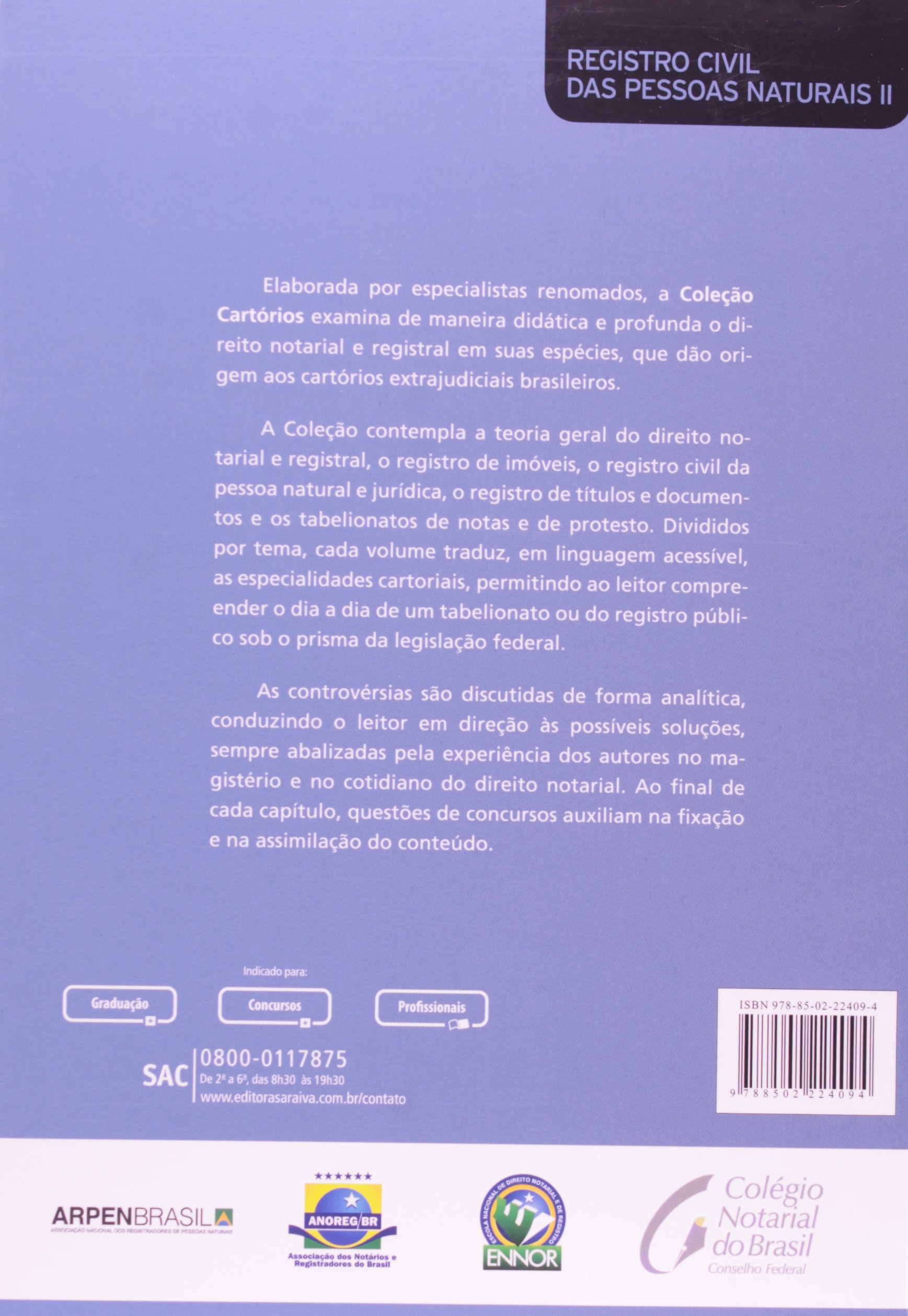 Registro Civil de Pessoas Naturais. Habilitação e Registro de Casamento, Registro de Óbito e Livro - Volume 2. Coleção Cartórios (Em Portuguese do Brasil): ...