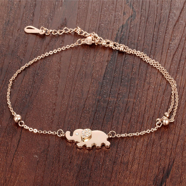JAJAFOOK Cute Elephant /& Bead Anklet Bracelet Rose Gold Plated Summer Sandal Beach Jewelry Adjustable