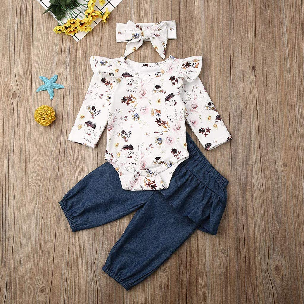 Infant Baby Romper Girls Flower Print Ruffles Jumpsuit Outfits Summer Clothes xc
