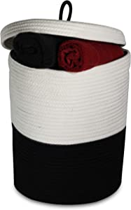 """Proper Products Daily Cotton Rope Storage Basket- (15"""" x 13"""") Woven Basket with Handles and Lid 