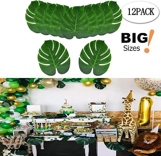 10PcsTropical Palm Tree Leaf Dark Green Hawaiian Beach Party Balloon Venue Decor