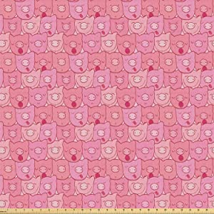 Lunarable Pig Fabric by The Yard, Funny Snouts of Pigs with Different Emotions and Happy Animal Faces Tile Pattern, Stretch Knit Fabric for Clothing Sewing and Arts Crafts, 1 Yard, Pale Pink