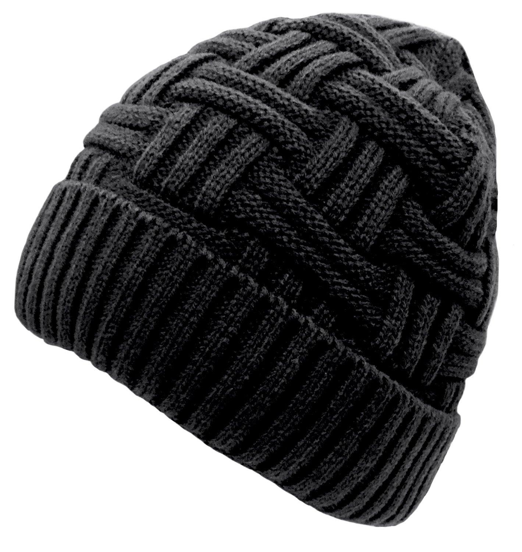 4b347489e Loritta Gorra de Invierno Tejer Cráneo Hombre Lana cálido Slouchy Beanie  Sombrero Style A(Black