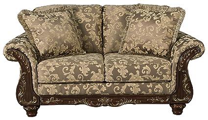 Ashley Furniture Signature Design   Irwindale Loveseat   Traditional Elegant  Sofa   Topaz With Goldtone Leaf