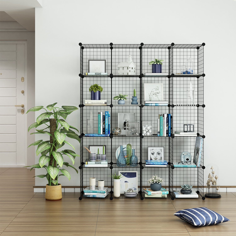 Tespo Wire Cube Storage Shelves Book Shelf Metal Bookcase Shelving ...