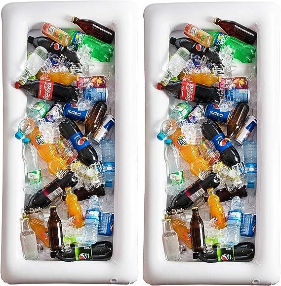 Mesa De Billar Inflable Servable: Paquete De 2 Bandejas Grandes Con Tapón De Drenaje, Mantiene Las Ensaladas Y Bebidas Heladas, Para Fiestas En Interiores Y Exteriores, Accesorios Para Fiestas