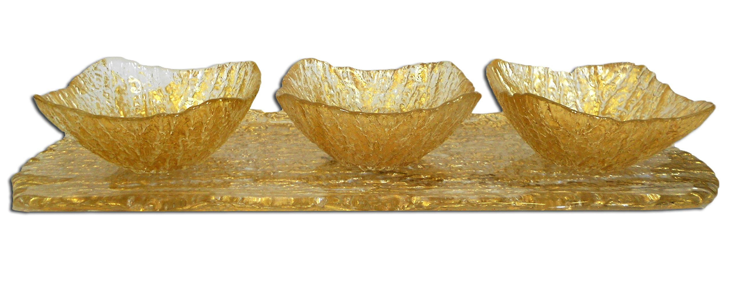 Classic Touch CR547 Beveled 3-Bowl Relish Dish Tray, 18.5-Inch, Gold