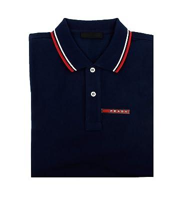 90f92d87 Prada Men's Cotton Piqué Short Sleeve Slim Fit Polo Shirt, Ink-Blue  (Inchiostro)
