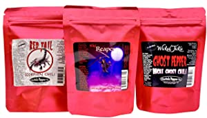 Spice Gift Set Dried Carolina Reaper Peppers Ghost Pepper Scorpion Chili 15 Whole Peppers Plus 6 Free Red