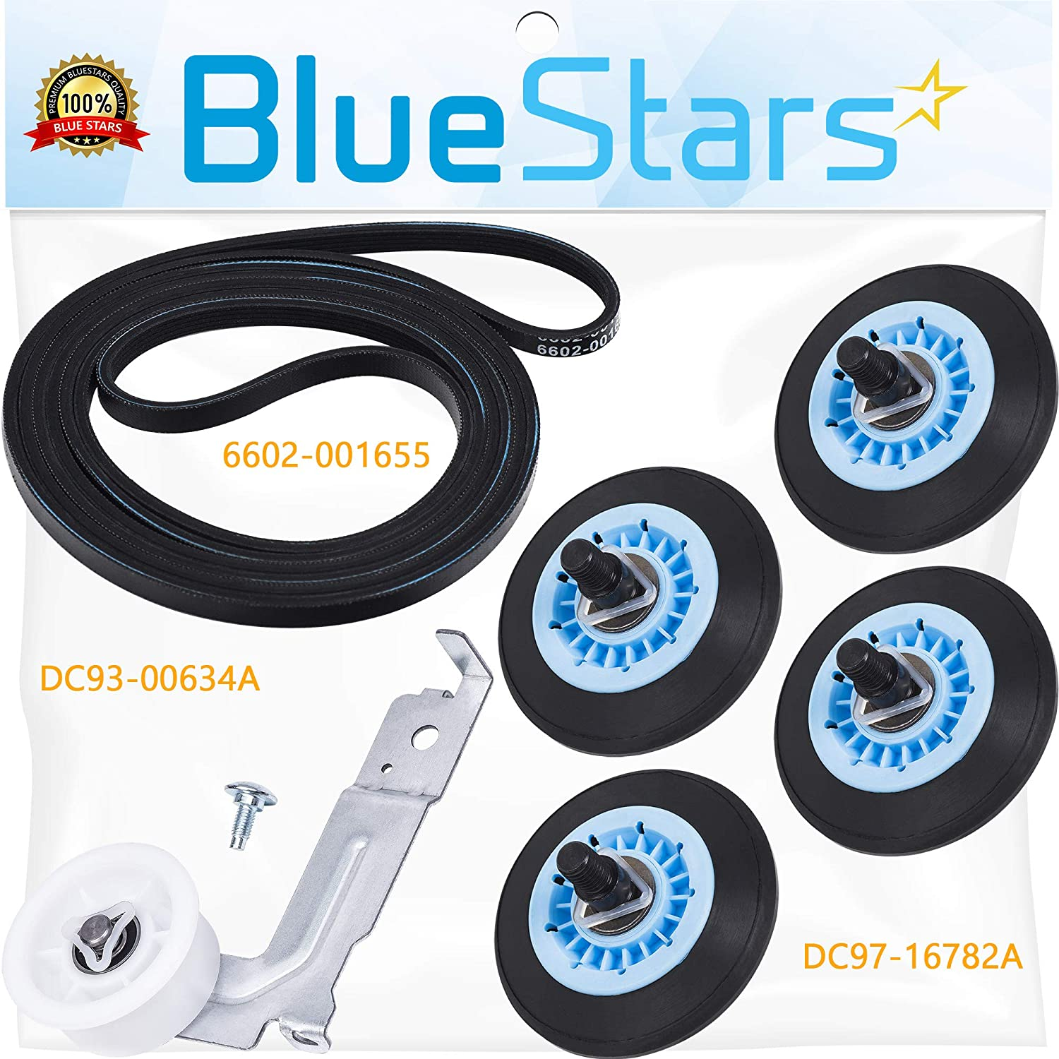 Ultra Durable DC97-16782A & 6602-001655 & DC93-00634A Dryer Repair Kit Replacement by Blue Stars - Exact Fit for Samsung & Kenmore Dryers