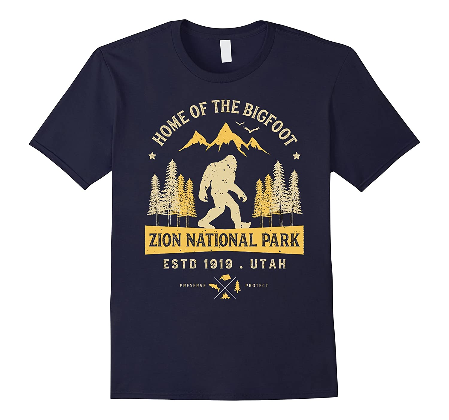 Zion National Park Vintage Bigfoot Utah T Shirt Men Women-RT