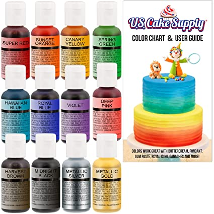 12 Color-US Cake Supply by Chefmaster Airbrush Cake Color Set ...
