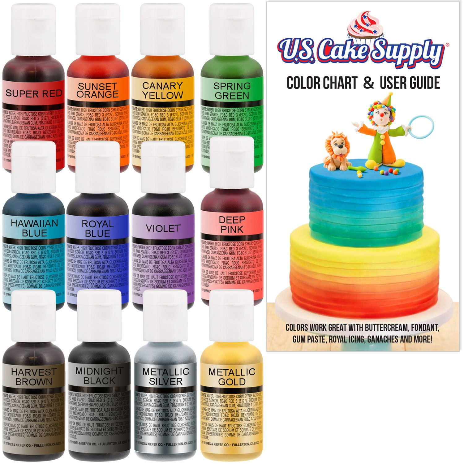 12 Color-US Cake Supply by Chefmaster Airbrush Cake Color Set - The 12 Most Popular Colors in 0.7 fl. oz. (20ml) Bottles by U.S. Cake Supply