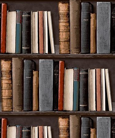 Amazon LIBRARY BOOKSHELF REALISTIC BOOKCASE WALLPAPER POB 33 01 6 Home Kitchen