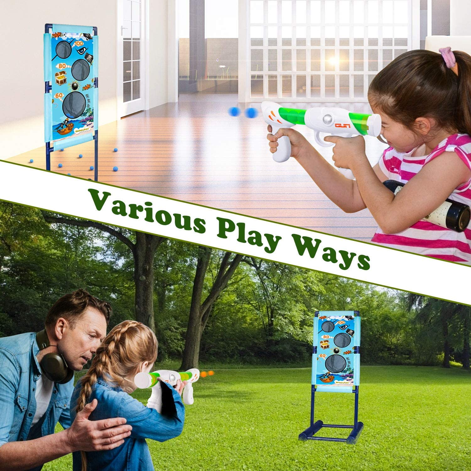 DX DA XIN Moving Shooting Targets Game Electric Scoring Target Kids Toy with 2 Popper Guns 18 Foam Balls Outdoor Garden Toys Gifts for Boys Girls 110 x 42cm