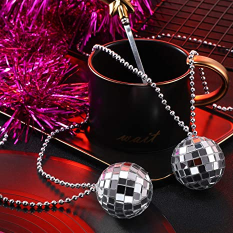 Silver Mirror Ball 1970s Disco Dance Cane Gangster Prop Fancy Dress Accessory