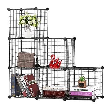 4ba53ea70365 BASTUO 6-Cubes DIY Draht Aufbewahrung Schrank Bücherregal Regal Körbe  Modular Cubes