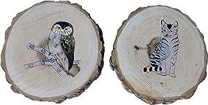 Set of Two (2) Wood Log Slice Refrigerator Magnets & Beer Bottle Opener | Wooden Magnet for the Kitchen | Animal Design | Cats Owls (OWL-CAT)