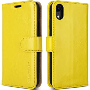 "JISONCASE Leather Wallet Case for iPhone XR, Flip Genuine Leather Cover with Kickstand, Cash Slot, Magnetic Closure and Wireless Charger for Apple iPhone XR, 6.1"", Yellow"