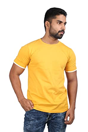 d03a288cedd Catfish Mens Premium Cotton Half Sleeves Round Neck T-Shirts Combo Offer ( Pack of 3) - Yellow