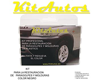 KIT RESTAURADOR PARAGOLPES Y MOLDURAS DE PLASTICO COLOR NEGRO: Amazon.es: Coche y moto