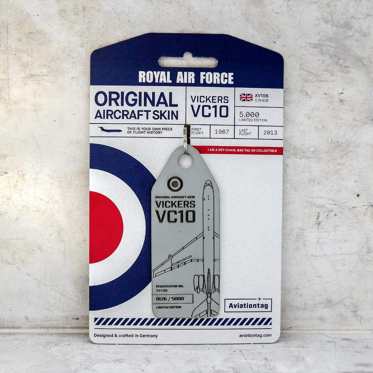 AVT022 AviationTag Vickers VC10 (Royal Air Force) Grey Original Aircraft Skin Keychain/Luggage Tag/Etc with Lost & Found Feature
