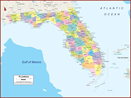 Map Of Florida State Amazon.: 60 x 45 Giant Florida State Wall Map Poster with