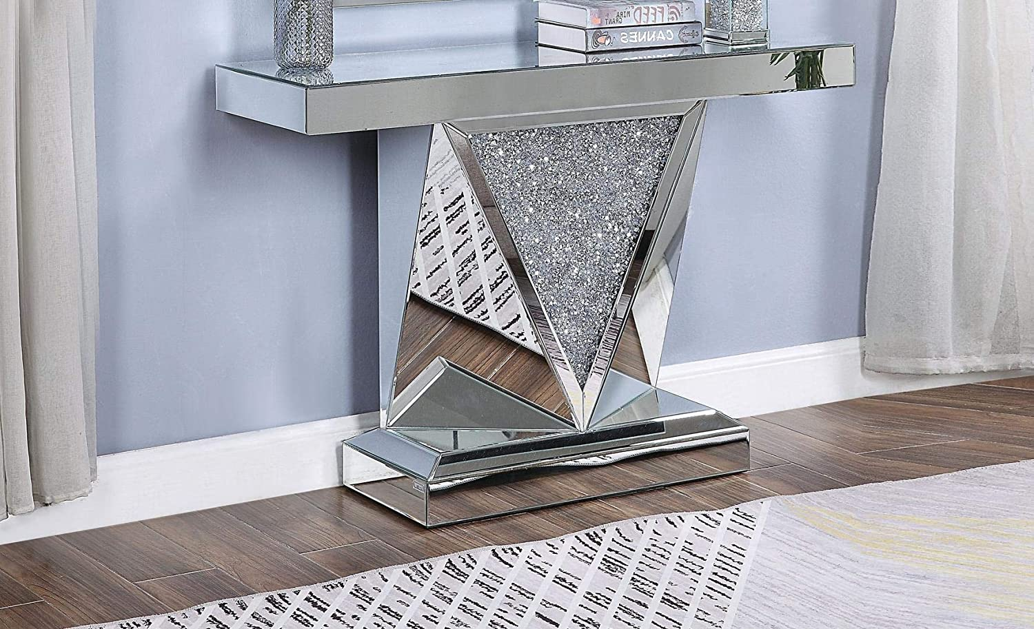 ACME Furniture Console Table, Mirrored and Faux Diamonds