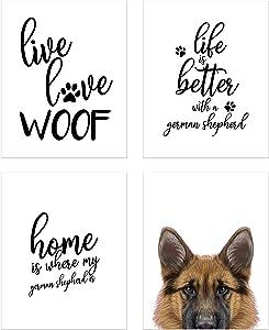 Summit Designs German Shepherd Wall Art Décor Prints – Set of 4 (8x10) Unframed Poster Photos – Dog Puppy Quotes