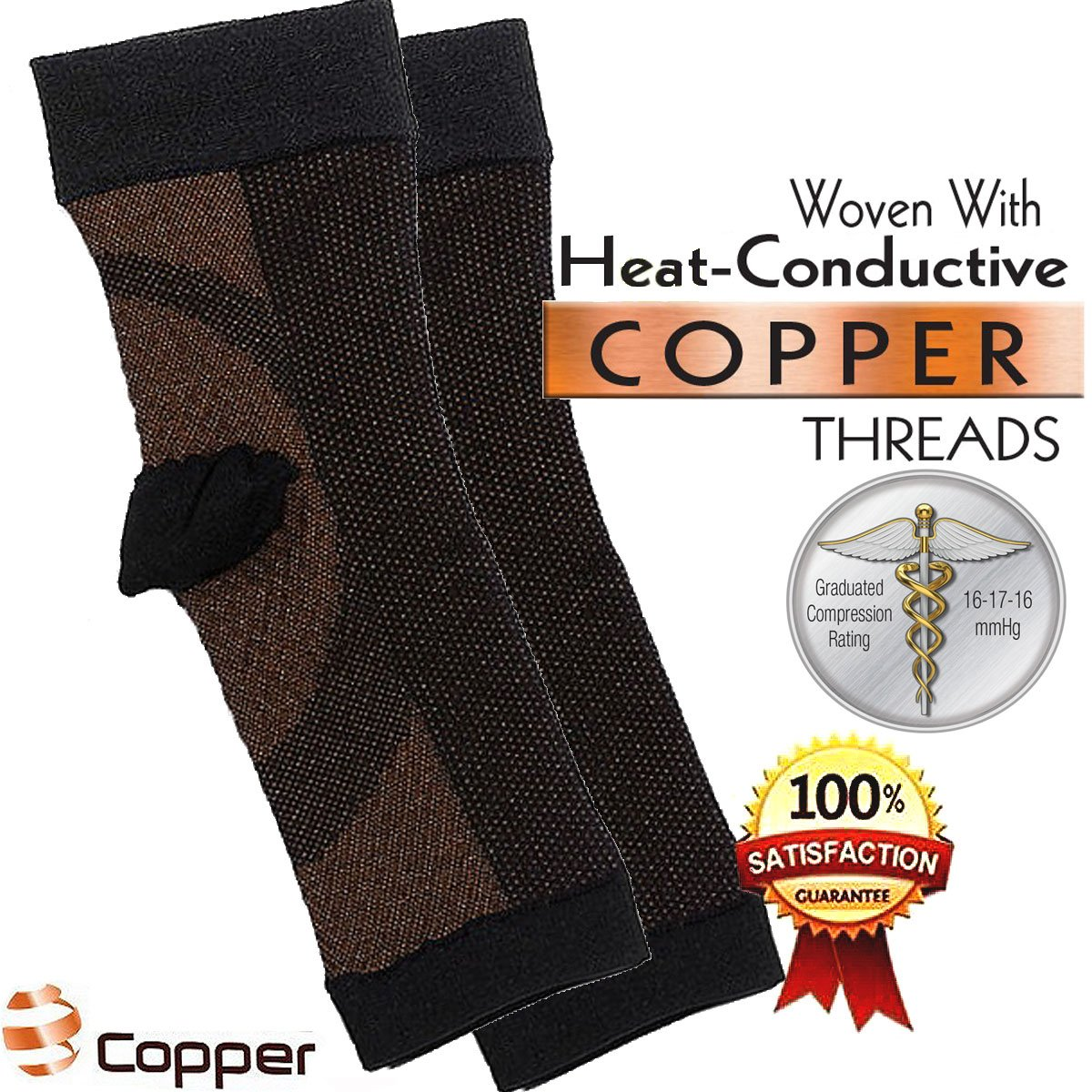 Compression Recovery Ankle Sleeve, Copper Anti-Fatigue Highest Copper Content. Infused Fit Ankle Support Brace / Wrap / Sock / Stabilizer For For Foot, Heel, Ankle, Arch, circulation + more Wear Anywhere