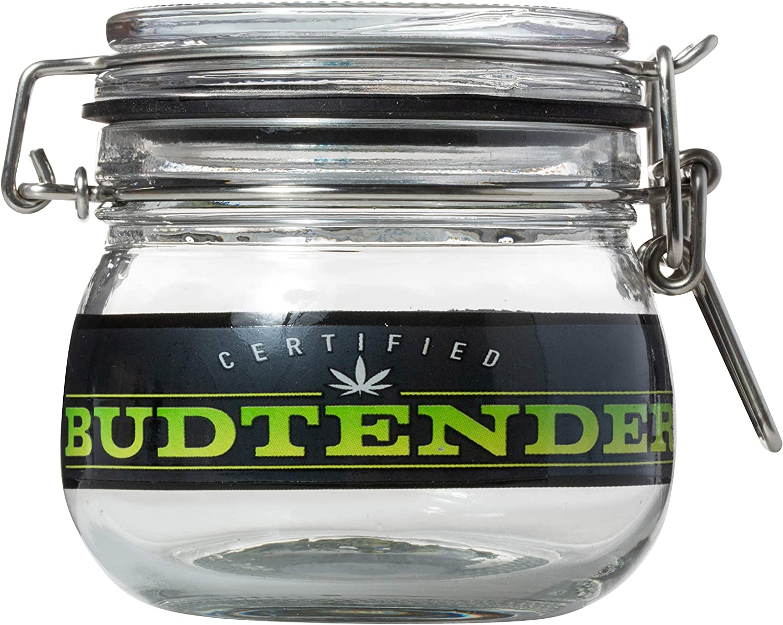 Certified Budtender Silicone Seal 5oz Glass Stash Jar Dank Tank - Keep your herbs fresh!