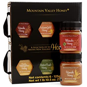 Raw Honey Gift Box (Set of 6) with Premium New Zealand Manuka Honey MGO 83+, Gourmet Honey Collection, 100% Pure Natural Honey Gift Sets, 6 x 4.4oz Honey Pots, Perfect Gourmet Food Gift for Families