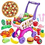 Buyger 2 en 1 Supermercado Carrito Compra Frutas y Verduras Juguete para Cortar Cocina Alimentos Accesorios Regalo…