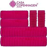 Casa Copenhagen - 500 GSM Egyptian Cotton Emerald 6 Pcs Towel Set - (2 King Size Bath Towel (75x150cm), 2 Hand Towels (40x60cm), 2 Face Towels(30x30cm)