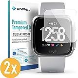 smartect Beschermglas compatibel met Fitbit Versa [2 stuks] - screen protector met 9H hardheid - bubbelvrije beschermlaag - antivingerafdruk kogelvrije glasfolie