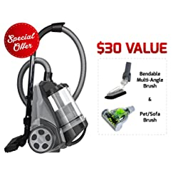 Ovente ST2620B Bagless Canister Cyclonic Vacuum