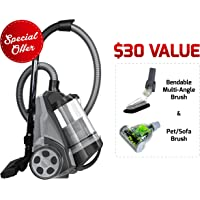 Ovente Bagless Canister Cyclonic Vacuum - HEPA Filter - Includes Pet/Sofa, Bendable Multi-Angle, Crevice Nozzle/Bristle Brush, Retractable Cord - Featherlite - ST2620 Series