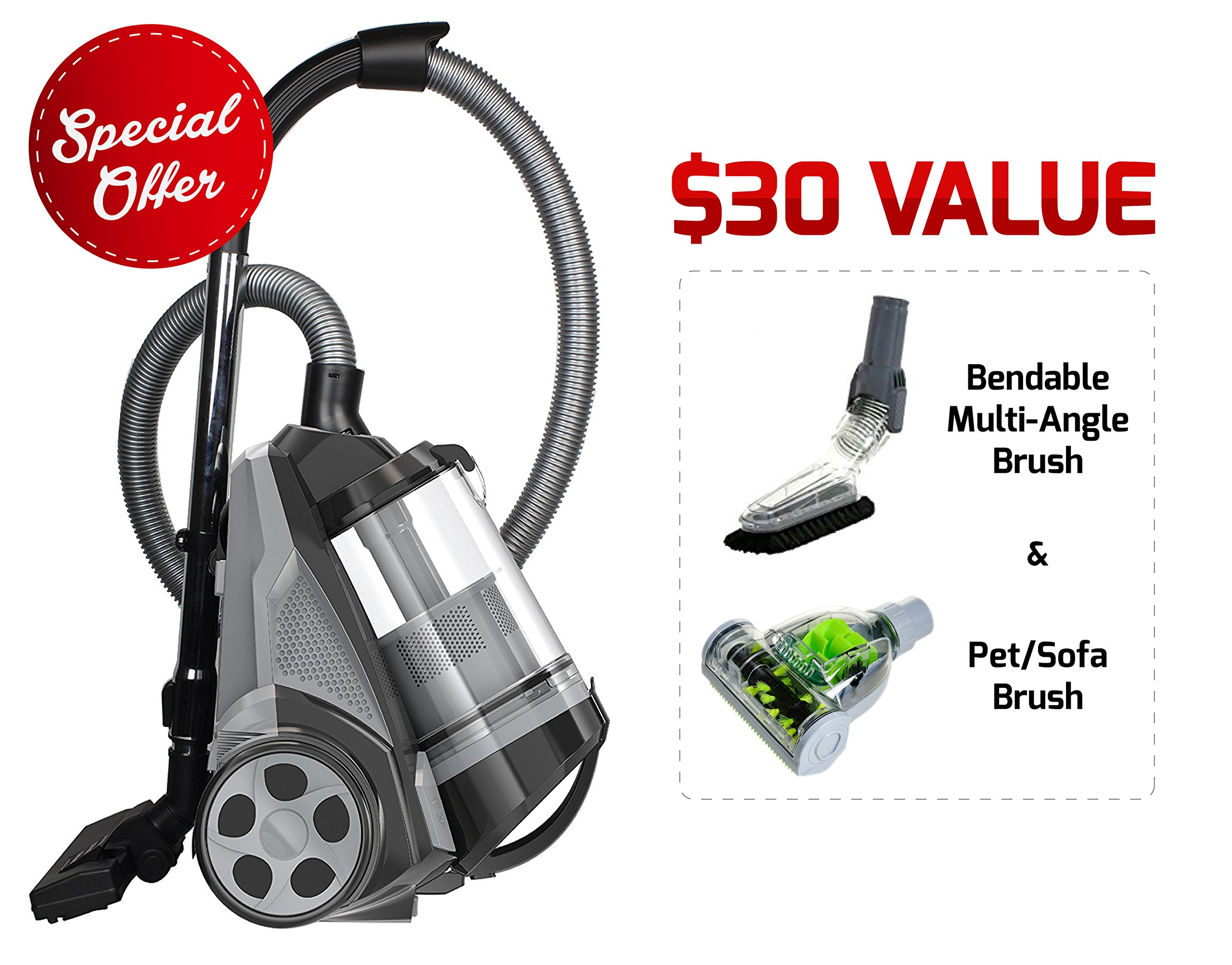 Ovente ST2620B Bagless Canister Cyclonic Vacuum - HEPA Filter - Includes Pet/Sofa, Bendable Multi-Angle, Crevice Nozzle/Bristle Brush, Retractable Cord - Featherlite, Black by Ovente