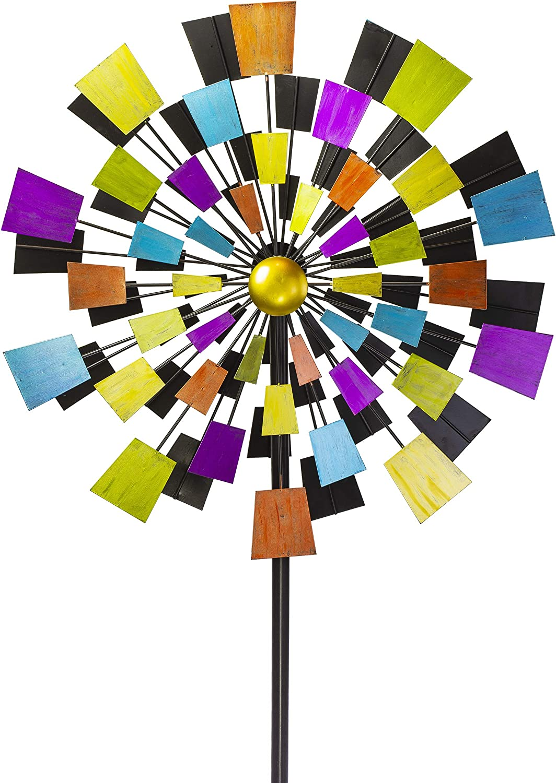 "VP Home Kinetic Kaleidoscope Windmill 94"" H Metal Stake Garden Wind Spinner"