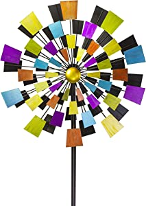 "VP Home Kinetic Kaleidoscope Windmill 94"" H Metal Stake Garden Wind Spinner"