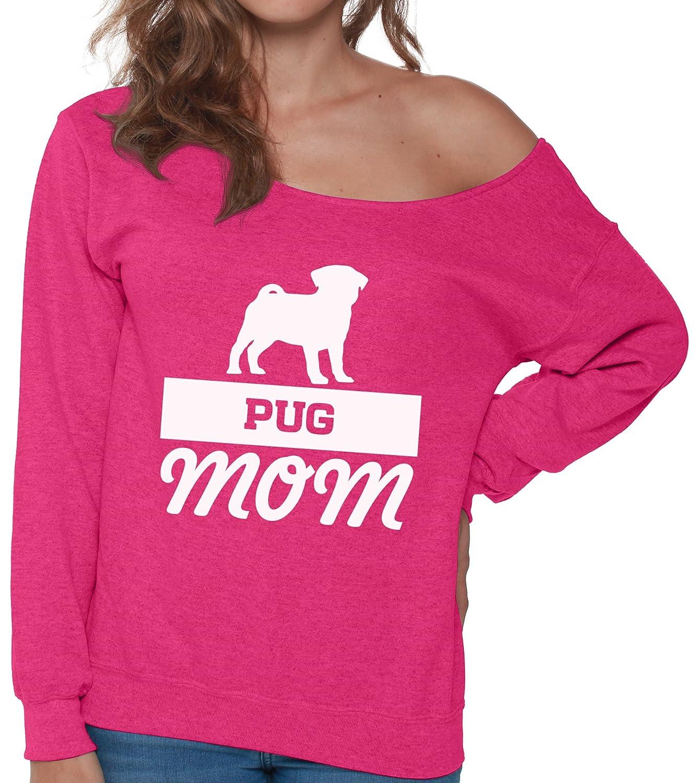 Pekatees Pug Mom Off Shoulder Sweatshirt Dog Mom Sweater for Women Pug Mom Gifts