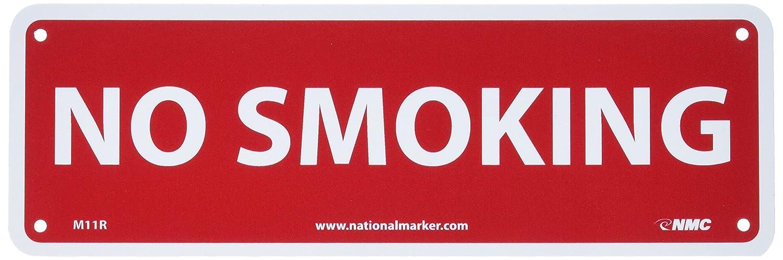 12 Length x 4 Height NMC M11R Security Sign Legend NO SMOKING Rigid Plastic White on Red Legend NO SMOKING 12 Length x 4 Height