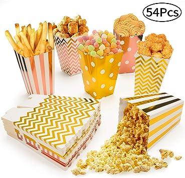 MOSRACY Caja de Palomitas de Maíz 54 Piezas para Navidad, Caja de Cartón de Dulces para Fiestas, Caja de Dulces o Palomitas de Maíz para la Fiesta de Cumpleaños Noche de Cine: