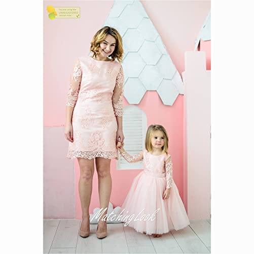 Amazon Peach Mother Daughter Matching Lace Dresses Mommy And Me Sleeved Pink Girls Party Birthday Dress Tight Pencil
