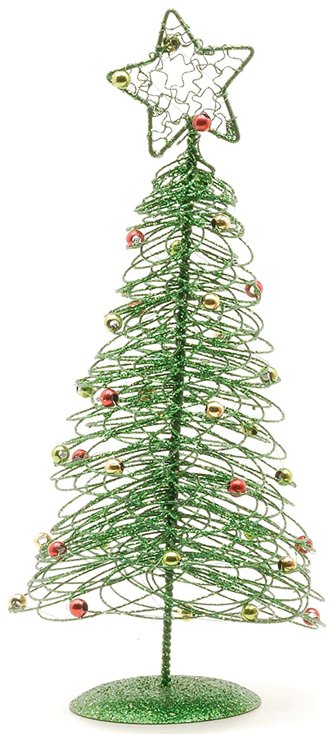 Amazon.com: Spiral Wire Christmas Tree Table Top Decoration - Green ...