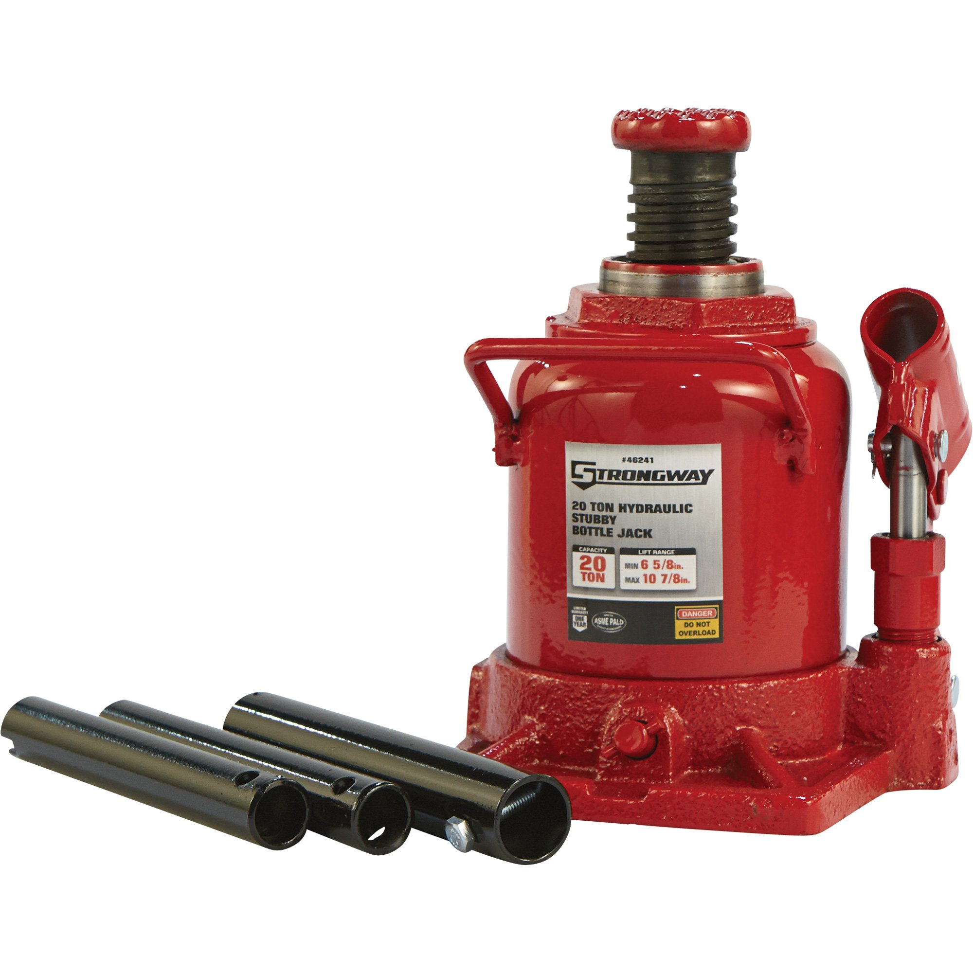 Strongway Hydraulic Stubby Bottle Jack - 20-Ton Capacity, 6 5/8in.-10 7/8in. Lift Range